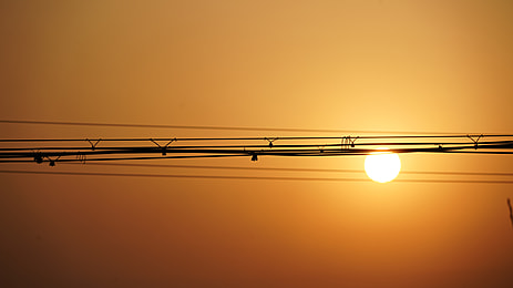 sunset at dusk with wires
