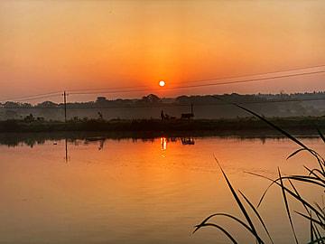 countryside sunset at dusk