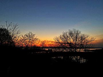 lake scenery at dusk