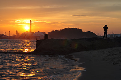 sunset over the island in the evening