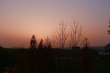 countryside scenery before sunrise