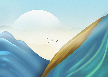 blue and yellow mountains korean new year traditional background