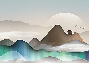 green gradient landscape korean new year traditional background