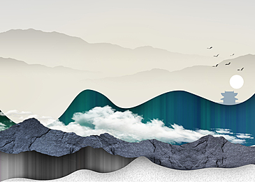 green texture mountains and rivers korean new year traditional background