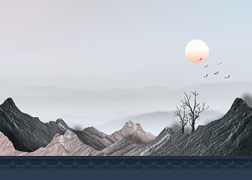 mountains and rivers korean new year traditional background
