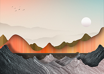orange mountains and rivers korean new year traditional background