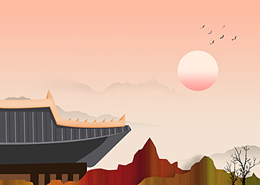 red and brown mountain architecture korean new year traditional background