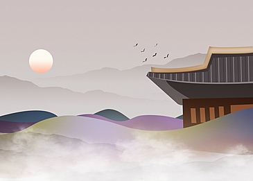 smoke and mountains korean new year traditional background