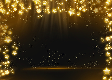 christmas abstract glowing golden stars background