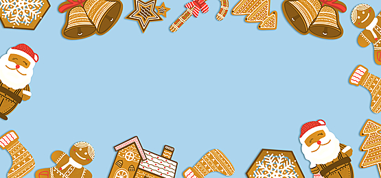 christmas house snowflake bell shaped sugar cake border background