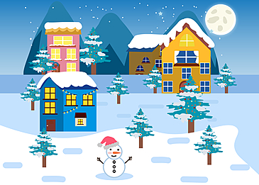 night village christmas town background