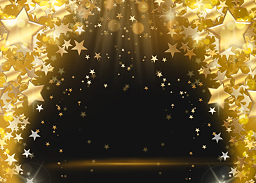 stars glowing christmas golden background