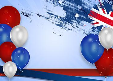 australia day realistic balloon brush effect flag background
