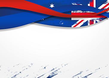 australia day red and blue flag ribbon border