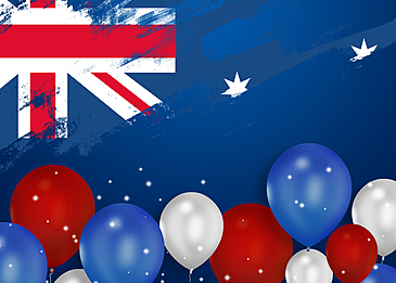 australia day3d balloon flag brush blue background