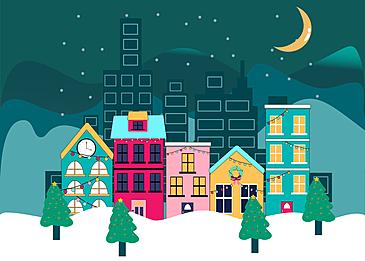 city snowy night christmas background