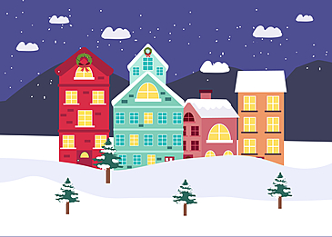 cold night christmas small house background