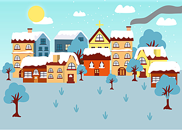 daytime blue christmas town background