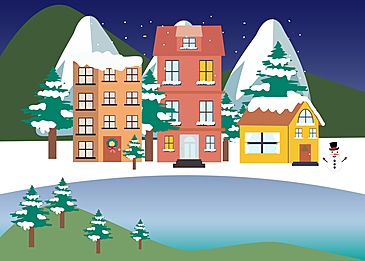 snow mountain christmas mountain village background