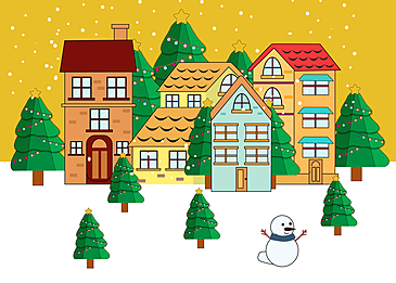 sun and snow christmas town background