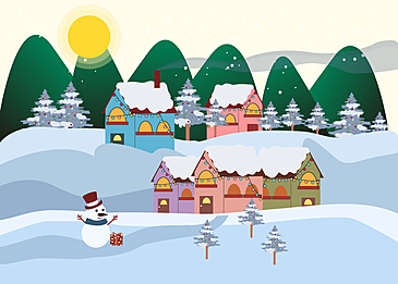 christmas background with mountain village in the evening