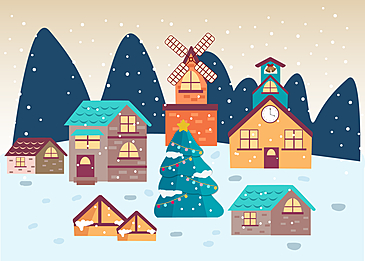 christmas evening snowy background