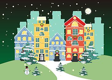 christmas villa background at night