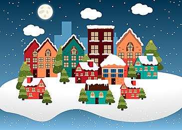 snowy night christmas night