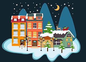 snowy village christmas background