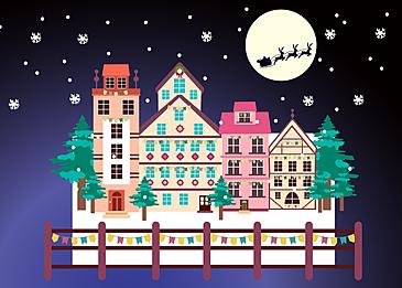village snowy christmas night background