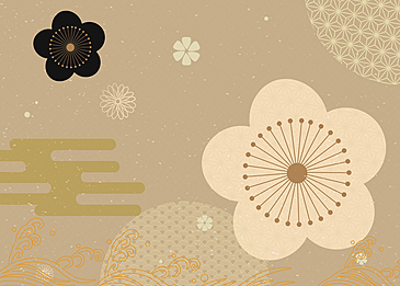 golden flower japanese new year background