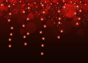 black and red gradient halo bulb valentine light effect