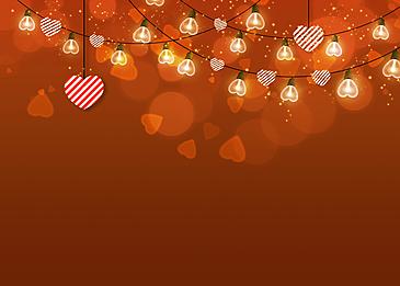 striped love heart orange red background lantern valentines day light effect