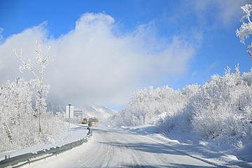 the wonders of ice and snow beside the highway