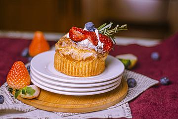 strawberry souffle on white dish