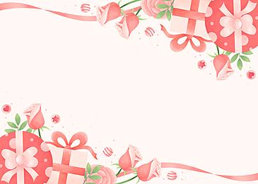 beautiful elegant rose gift box with ribbon valentine pink background