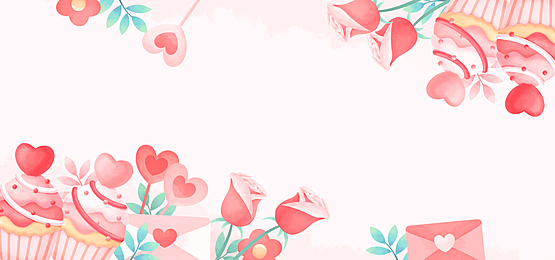 beautiful rose cake love letter pink white green valentine background