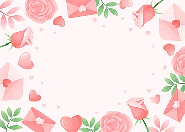 beautiful tender love letter rose pink green valentine background