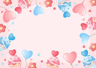 cute cake flower love pink blue valentine background