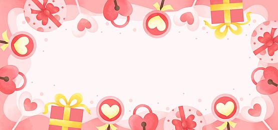 fashion beautiful gift box lollipop lock valentine pink background
