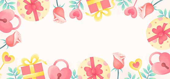 fashion cute gift box rose lock pink yellow green valentine background