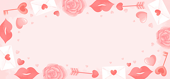 romantic elegant lip print love letter rose valentine pink background