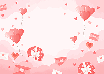 romantic gift box balloon love letter cloud valentine pink background