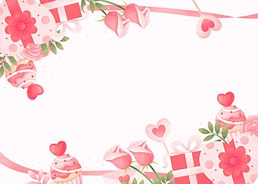 romantic gift box rose cake valentine pink background