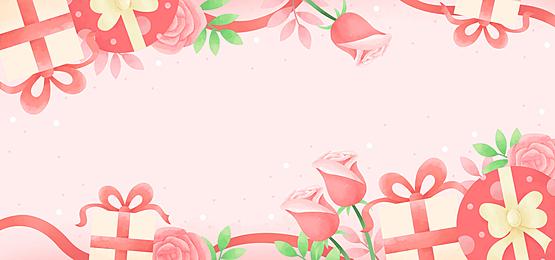 romantic gift box rose pink yellow green valentine background