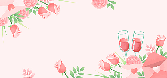 romantic love letter red wine rose pink valentine background