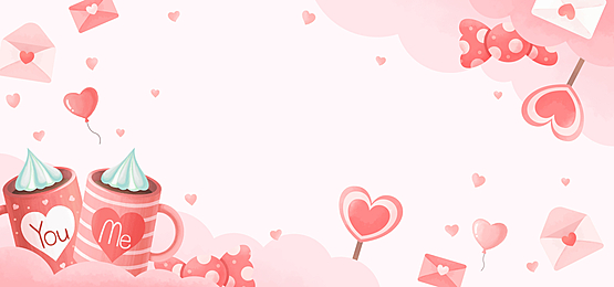 warm romantic love letter coffee cup candy valentine pink background