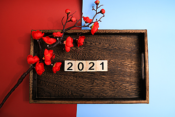2021 red plum wooden pallet chinese new year wallpaper