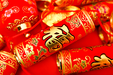 chinese new year red firecrackers background