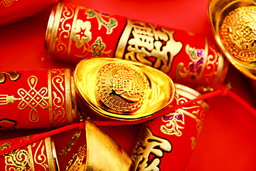 chinese new year red gold ingot background